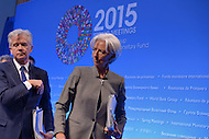Washington, DC - April 16, 2015: Christine Lagarde, Managing Director of the International Monetary Fund, walks from the dais after a press availability April 16, 2015 at the International Monetary Fund Headquarters in the District of Columbia during the annual Spring Meeting of the World Bank Group/IMF.   (Photo by Don Baxter/Media Images International)