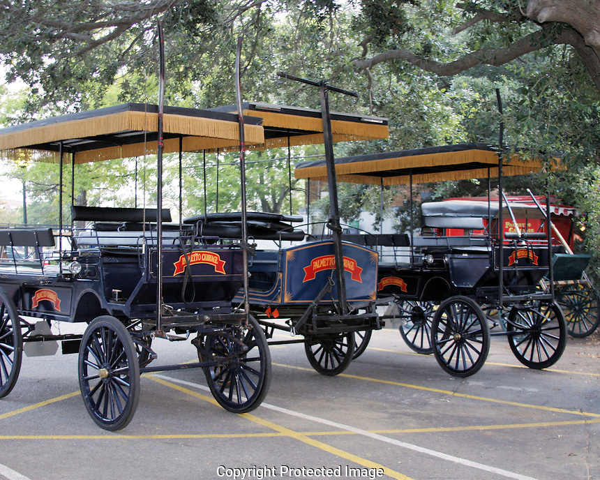"""If you visit Charleston, you'll probably take a tour of the historic section in one of these carriages pulled by horses or donkeys. The drivers also serve as tour guides and are educated in many phase of t=Charleston's history. Carriage tours are a """"must do"""" if you want to see and get a better understanding of Charleston's history!"""