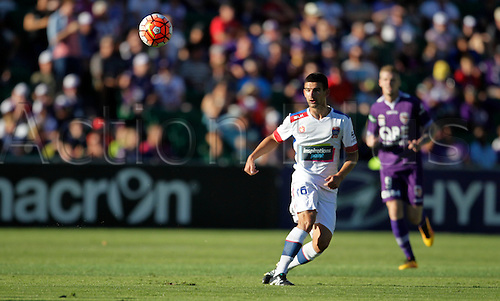 07.03.2016, Perth, Australia. Hyundai A-League, Perth Glory versus Newcastle Jets. Steven Ugarkovic from Newcastle defends during the first half.