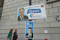 September6, 2012 - Montreal (Quebec) CANADA - PQ (Parti Quebecois candidate Daniel Breton win in Sainte-Marie Saint-Jacques riding during the provincial election. <br /> In photo : his poster underneath Luc Harvey , conservative candidate<br /> <br /> FRENCH CAPTION - LEGENDE EN FRANCAIS<br /> Luc Breton, candidat Pequiste (Parti Quebecois) elu depute dans Saint-Marie Saint Jacques lors de l'electiion provinciale du 4 septembre 2012.
