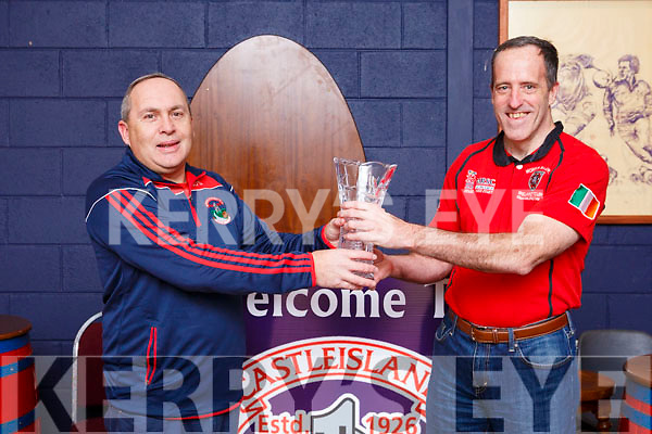 Castleisland Rugby Club welcoming Morris Rugby team from New Jersey, USA and a presentation been made to the Castleisland RFC club. Brian O'Sullivan (Club President) and Mike Ryan (Morris Rugby RFC)