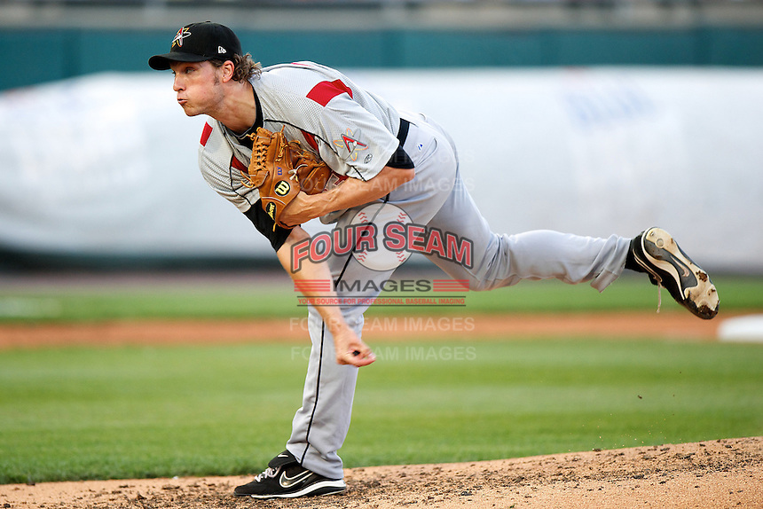 Albuquerque Isotopes pitcher John Ely #23 during the Triple-A All-Star game featuring the Pacific Coast League and International League top players at Coca-Cola Field on July 11, 2012 in Buffalo, New York.  PCL defeated the IL 3-0.  (Mike Janes/Four Seam Images)