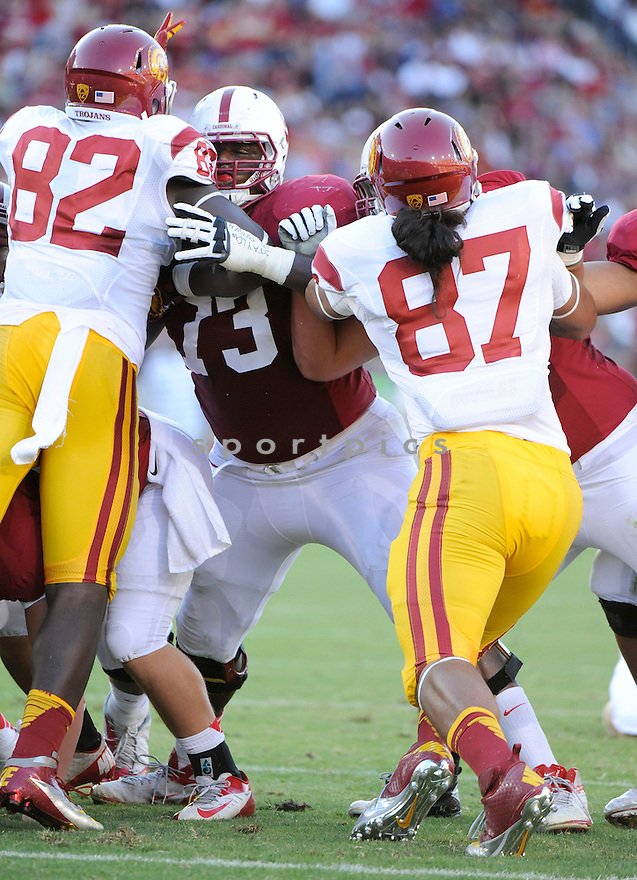 Stanford Cardinal Cameron Fleming (73) in action during a game against USC on September 15, 2012 at Stanford Stadium in Stanford, CA. Stanford beat USC 21-14.