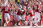 Wisconsin Badgers linebacker T.J. Edwards (53) celebrates an interception for a touchdown with teammates during an NCAA Big Ten Conference football game against the Maryland Terrapins Saturday, October 21, 2017, in Madison, Wis. The Badgers won 38-13. (Photo by David Stluka)