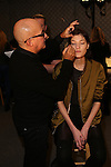 Gordon Espinet Applies makeup Backstage at NYFW Fall 2016 DESIGUAL Fashion Show