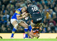 Picture by Allan McKenzie/SWpix.com - 23/03/2018 - Rugby League - Betfred Super League - Leeds Rhinos v Castleford Tigers - Elland Road, Leeds, England - Matt Cook is tackled by Jamie Jones-Buchanan and Ashton Golding.