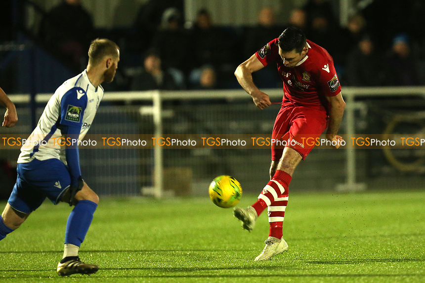 Sean Marks of AFC Hornchurch and Sam Hatton of Enfield Town during AFC Hornchurch vs Enfield Town, Velocity Trophy Final Football at Parkside on 10th April 2019