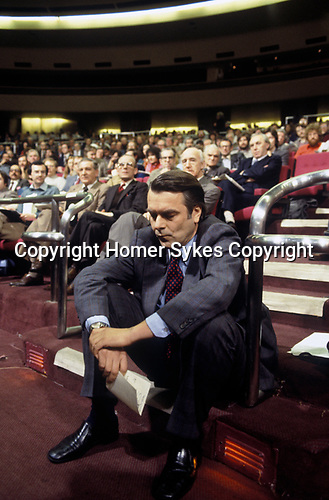 David Owen MP Social Democratic Party SDP, Wembley Conference Centre party meeting. 1980s.