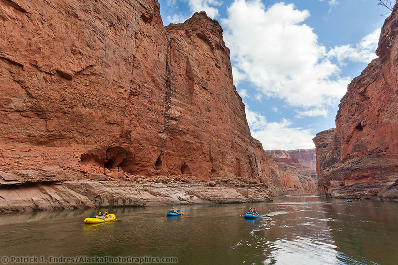 Rafts float down the Colorado river in the Grand Canyon National Park, Arizona