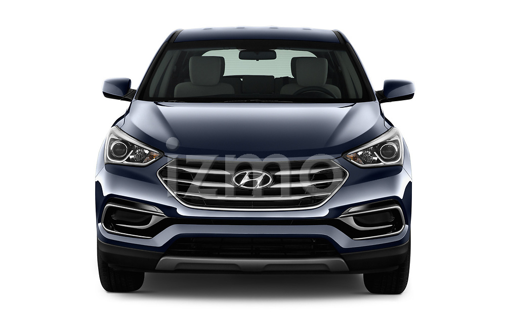 Car photography straight front view of a 2018 Hyundai Santa Fe Sport Base 5 Door SUV