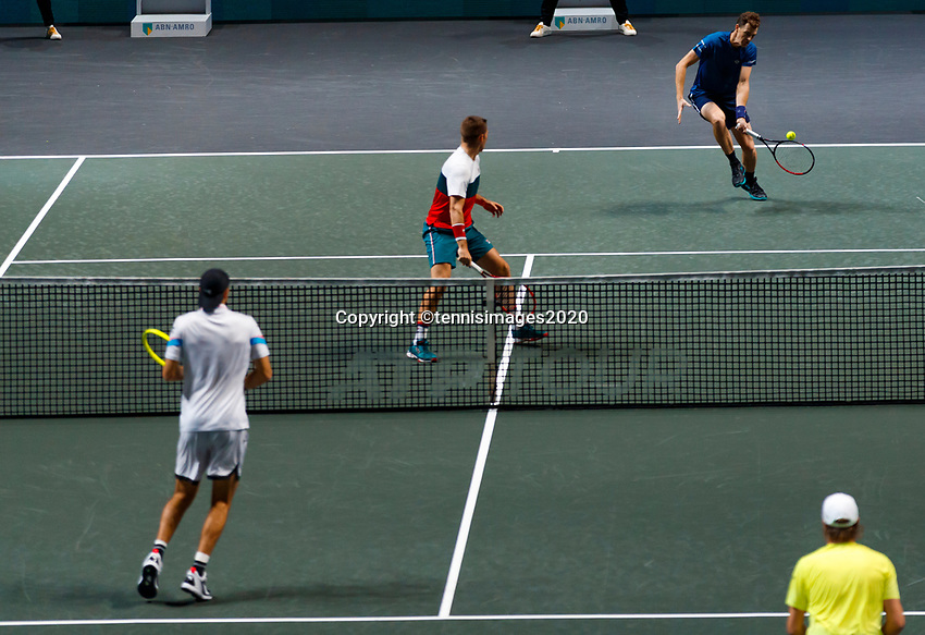 Rotterdam, The Netherlands, 14 Februari 2020, ABNAMRO World Tennis Tournament, Ahoy, Doubles: Henri Kotinen (FIN) and Jan-Lennard Struff (GER), Jamier Murray (GBR) and Neal Skupski (GBR).<br /> Photo: www.tennisimages.com