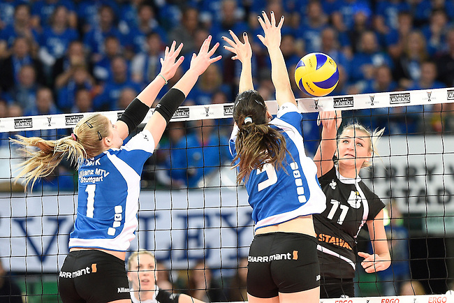 Halle/Westfalen, Germany, March 01: Jelena Wlk #1 of Allianz MTV Stuttgart and Micheli Tomazela Pissinato #3 of Allianz MTV Stuttgart try to block a shot against Simona Kosova #11 of Ladies in Black Aachenduring the Volleyball DVV-Pokalfinale (Damen) between Ladies in Black Aachen and Allianz MTV Stuttgart on March 1, 2015 at the Gerry Weber Stadion in Halle/Westfalen, Germany. Final score 2-3 (25-17, 25-20, 19-25, 19-25, 13-15). (Photo by Dirk Markgraf / www.265-images.com) *** Local caption ***