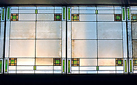 F.L. Wright: Unity Temple, Oak Park. Skylight Room, opposite foyer.  Photo '76.