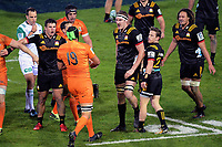 Brodie Retallick takes issue with Matias Alemanno (19) during the Super Rugby match between the Chiefs and Jaguares at Rotorua International Stadum in Rotorua, New Zealand on Friday, 4 May 2018. Photo: Dave Lintott / lintottphoto.co.nz