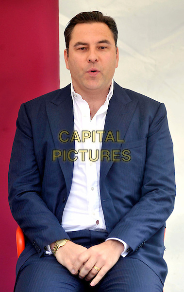 David Walliams .At a talk and signing for his children's book 'Gangsta Granny' at the Roald Dahl Museum and Story Centre, Great Missenden, Buckinghamshire, England..August 2nd 2012.half length blue suit white shirt mouth open sitting .CAP/JIL.©Jill Mayhew/Capital Pictures