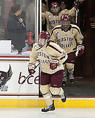 Taylor Wasylk (BC - 9), Blake Bolden (BC - 10), Caitlin Walsh (BC - 11) - The visiting University of Minnesota Duluth Bulldogs defeated the Boston College Eagles 3-2 on Thursday, October 25, 2012, at Kelley Rink in Conte Forum in Chestnut Hill, Massachusetts.