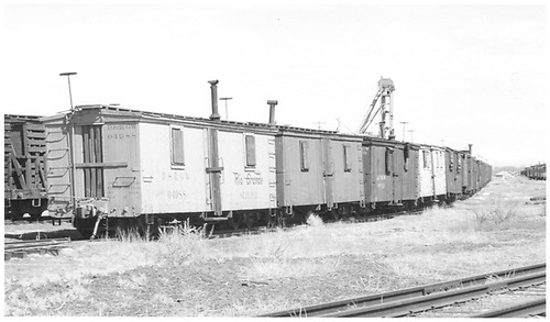 Outfit consist including sleeper 04988 at Pickler yard in Alamosa.<br /> D&amp;RGW  Pickler Yard in Alamosa, CO  Taken by Richardson, Robert W. - 5/1/1949
