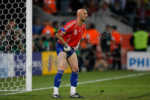 Jun 23, 2006; Cologne, GERMANY; France goalkeeper (16) Fabien Barthez pulls up his shorts during the match against Togo in first round group G action of the 2006 FIFA World Cup at FIFA World Cup Stadium Cologne. France defeated Togo 2-0. Mandatory Credit: Ron Scheffler-US PRESSWIRE Copyright © Ron Scheffler