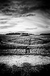 Burial mound in rural landscape