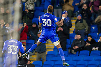 Omar Bogle of Cardiff City celebrates scoring his side's third goal during the Sky Bet Championship match between Cardiff City and Norwich City at the Cardiff City Stadium, Cardiff, Wales on 1 December 2017. Photo by Mark  Hawkins / PRiME Media Images.