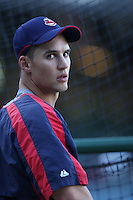 Grady Sizemore of the Cleveland Indians during batting practice before a game from the 2007 season at Angel Stadium in Anaheim, California. (Larry Goren/Four Seam Images)