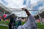 Theodor Gebre Selassie (Werder Bremen #23) fliegt ins Tornetz<br /> <br /> <br /> Sport: nphgm001: Fussball: 1. Bundesliga: Saison 19/20: 33. Spieltag: 1. FSV Mainz 05 vs SV Werder Bremen 20.06.2020<br /> <br /> Foto: gumzmedia/nordphoto/POOL <br /> <br /> DFL regulations prohibit any use of photographs as image sequences and/or quasi-video.<br /> EDITORIAL USE ONLY<br /> National and international News-Agencies OUT.