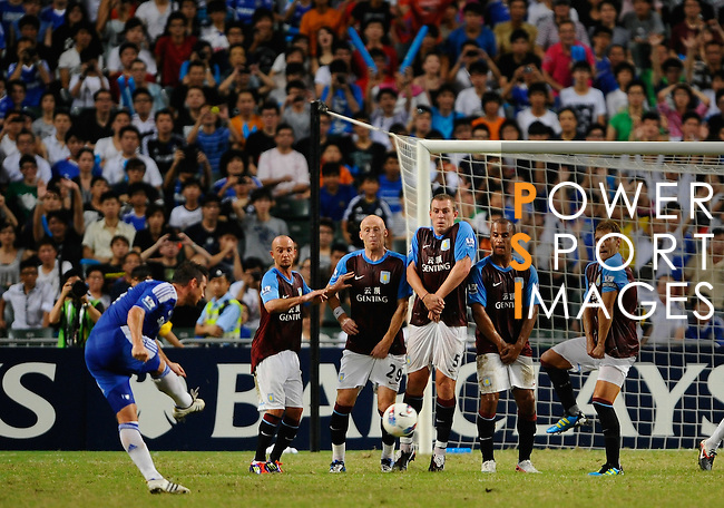 SO KON PO, HONG KONG - JULY 30: Frank Lampard of Chelsea takes a free kick against Aston Villa during the Asia Trophy Final match at the Hong Kong Stadium on July 30, 2011 in So Kon Po, Hong Kong.  Photo by Victor Fraile / The Power of Sport Images