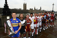 PICTURE BY VAUGHN RIDLEY/SWPIX.COM - Rugby League - Super League XV 2010 Season Launch - London, England  - 25/01/10...Copyright - Simon Wilkinson - 07811267706...The Captains of the 14 Super League teams, pictured on the banks of the River Thames, in front of the Houses of Parliament during the Launch to the new 2010 season. (L-R) - Leeds Kevin Sinfield, Hull FC's Sean Long, Huddersfield's Brad Drew, Catalans Thomas Bosc, Salford's Malcolm Alker, St. Helens Keiron Cunningham, Wakefield's Damien Blanch, Castleford's Ryan Hudson, Harelquins Rob Purdham, Wigan's Sean O'Loughlin, Warrington's Adrian Morley, Bradford's Steve Menzies, Crusaders Ryan O'Hara and Hull KR's Mick Vella.