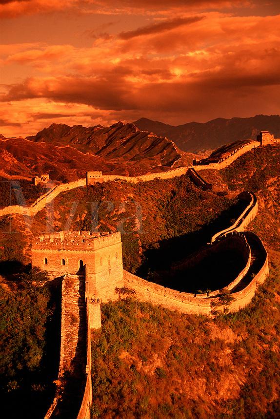 Moody overview of the Great Wall of China and the watchtower at at Jinshanling Pass. China.
