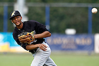 03 September 2011: Roeland JR. Henrique of L&D Amsterdam Pirates throws to first base during game 1 of the 2011 Holland Series won 5-4 in inning number 14 by L&D Amsterdam Pirates over Vaessen Pioniers, in Hoofddorp, Netherlands.