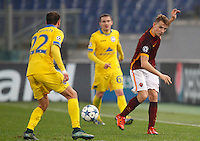 Calcio, Champions League: Gruppo E - Roma vs Bate Borisov. Roma, stadio Olimpico, 9 dicembre 2015.<br /> Roma's Lucas Digne, right, kicks the ball during the Champions League Group E football match between Roma and Bate Borisov at Rome's Olympic stadium, 9 December 2015.<br /> UPDATE IMAGES PRESS/Riccardo De Luca