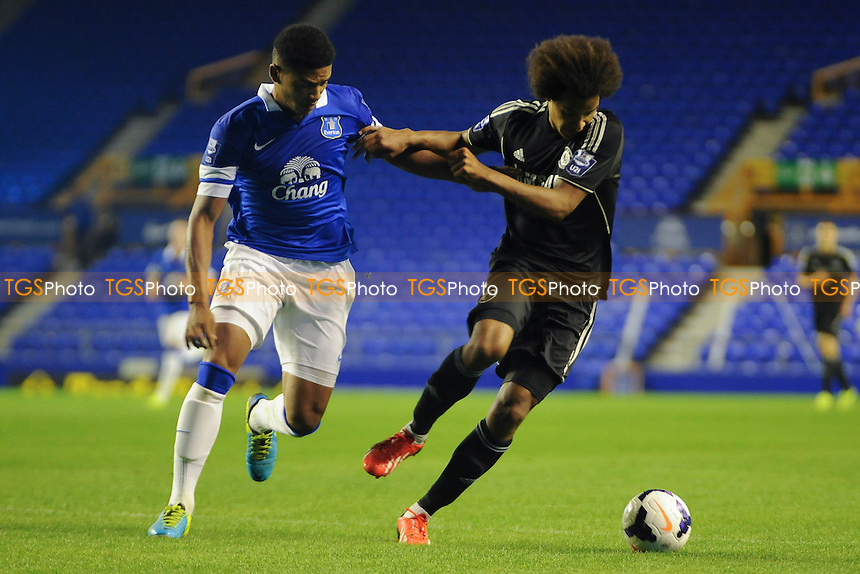 Tyias Browning of Everton vies for the ball with Isaiah Brown of Chelsea - Everton Under-21 vs Chelsea Under-21 - Barclays Under-21 Premier League Football at Goodison Park, Liverpool - 23/09/13 - MANDATORY CREDIT: Greig Bertram/TGSPHOTO - Self billing applies where appropriate - 0845 094 6026 - contact@tgsphoto.co.uk - NO UNPAID USE