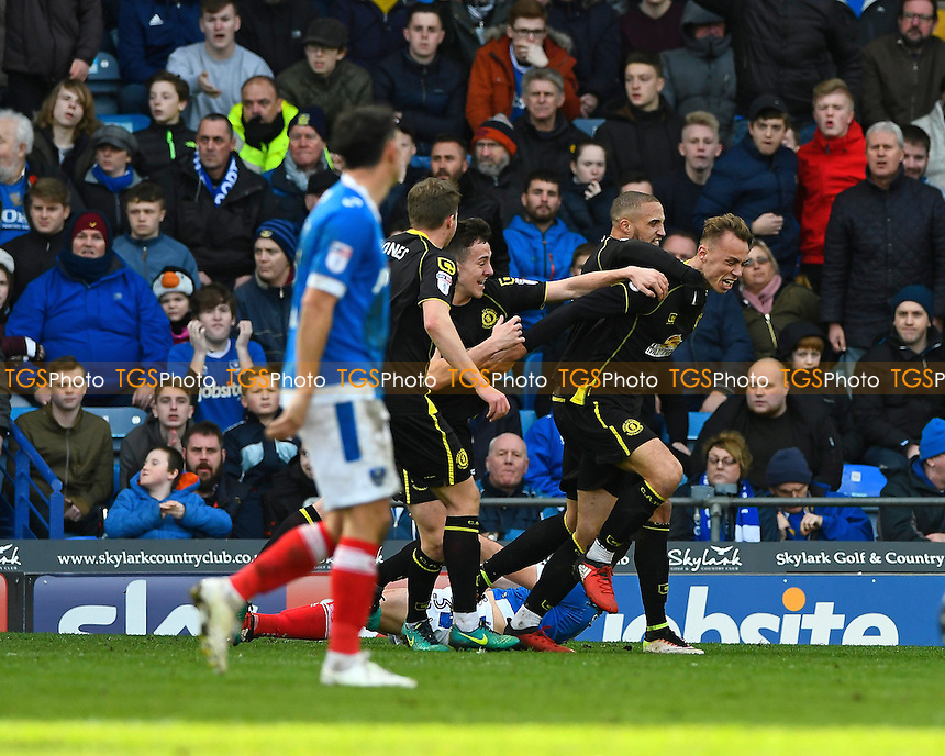 George Ray of Crewe Alexandra celebrates his goal with Jordan Bowery of Crewe Alexandra during Portsmouth vs Crewe Alexandra, Sky Bet EFL League 2 Football at Fratton Park on 4th March 2017