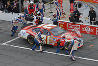 Feb 15, 2007; Daytona, FL, USA; Nascar Nextel Cup Series driver Ken Schrader (21) pits during race one of the Gatorade Duel at Daytona International Speedway. Mandatory Credit: Mark J. Rebilas