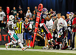7 December 2008: Buffalo Bills' wide receiver Lee Evans jumps to make a reception but lands out of bounds against the Miami Dolphins during the first regular season NFL game ever played in Canada. The Dolphins defeated the Bills 16-3 at the Rogers Centre in Toronto, Ontario. ..Mandatory Photo Credit: Ed Wolfstein Photo