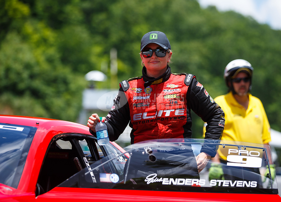 Jun 17, 2017; Bristol, TN, USA; NHRA pro stock driver Erica Enders-Stevens during qualifying for the Thunder Valley Nationals at Bristol Dragway. Mandatory Credit: Mark J. Rebilas-USA TODAY Sports