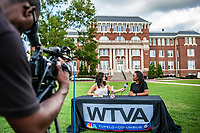 WTVA reporter Daniella Oropeza conducts a live interview with MSU Student Association President Mayah Emerson on the Drill Field as part of WTVA's &quot;Spotlight on Your City&quot; on Starkville. The hour-long program, which aired Wednesday [Oct. 10] showcased several campus and City of Starkville landmarks that make the area unique. Earlier this year, Starkville was named the &quot;Best Place to Live in Mississippi&quot; by Mississippi magazine. <br /> (photo by Logan Kirkland / &copy; Mississippi State University)