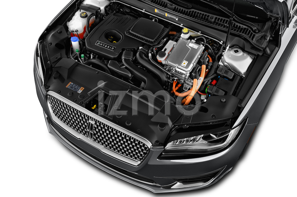 Car Stock 2017 Lincoln MKZ Hybrid-Select 4 Door Sedan Engine  high angle detail view