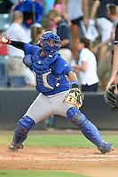 Dunedin Blue Jays catcher Santiago Nessy (43) throws down to second in between innings during a game against the Tampa Yankees on June 28, 2014 at George M. Steinbrenner Field in Tampa, Florida.  Tampa defeated Dunedin 5-2.  (Mike Janes/Four Seam Images)