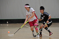 Japan&rsquo;s Yui Goto and Thailand&rsquo;s Thanaporn Tongkham in action during the World Floorball Championships 2017 Qualification for Asia Oceania Region - Japan v Thailand at ASB Sports Centre , Wellington, New Zealand on Saturday 4 February 2017.<br /> Photo by Masanori Udagawa<br /> www.photowellington.photoshelter.com.