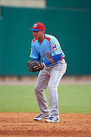 Tennessee Smokies shortstop Bryant Flete (7) during a game against the Montgomery Biscuits on May 25, 2015 at Riverwalk Stadium in Montgomery, Alabama.  Tennessee defeated Montgomery 6-3 as the game was called after eight innings due to rain.  (Mike Janes/Four Seam Images)