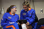 KANSAS CITY, MO - DECEMBER 16: Caroline Knop (6) and Allie Gregory (14) of the University of Florida pass time in the locker room prior to the Division I Women's Volleyball Championship held at Sprint Center on December 16, 2017 in Kansas City, Missouri. (Photo by Jamie Schwaberow/NCAA Photos via Getty Images)