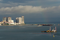Malaysia, Penang. George Town, skyscrapers along the waterfront. Land reclamation.