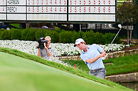 Webb Simpson (USA) hits from the trap on 18 during round 4 of the Dean &amp; Deluca Invitational, at The Colonial, Ft. Worth, Texas, USA. 5/28/2017.<br /> Picture: Golffile | Ken Murray<br /> <br /> <br /> All photo usage must carry mandatory copyright credit (&copy; Golffile | Ken Murray)