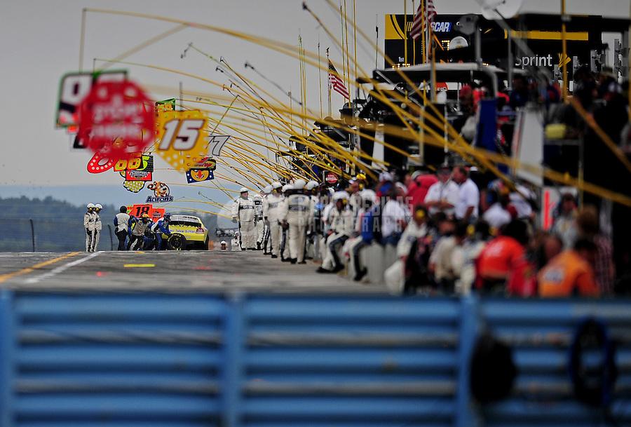 Aug. 8, 2009; Watkins Glen, NY, USA; NASCAR Nationwide Series driver Tony Raines pits during the Zippo 200 at Watkins Glen International. Mandatory Credit: Mark J. Rebilas-