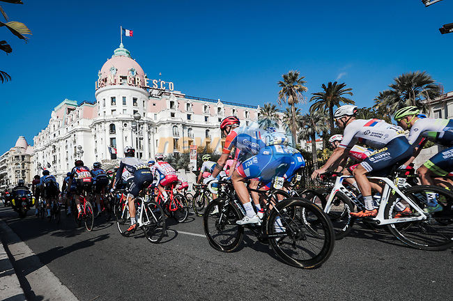 The peloton pass by Hotel Le Negresco at the start of Stage 7 of the 78th edition of Paris-Nice 2020, running 166.5km from Nice to Valdeblore La Colmiane, France. 14th March 2020.<br /> Picture: ASO/Fabien Boukla | Cyclefile<br /> All photos usage must carry mandatory copyright credit (© Cyclefile | ASO/Fabien Boukla)