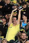 10/02/10-- An Oregon fan raises his palms to the sky as raindrops fall during the second half of the Oregon-Stanford football game at Autzen Stadium in Eugene, Or..Photo by Jaime Valdez......