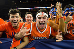 02 APR 2016: Syracuse University fans cheer on their team against the University of North Carolina during the 2016 NCAA Men's Division I Basketball Final Four Semifinal game held at NRG Stadium in Houston, TX. North Carolina defeated Syracuse 83-66 to advance to the championship game. Brett Wilhelm/NCAA Photos
