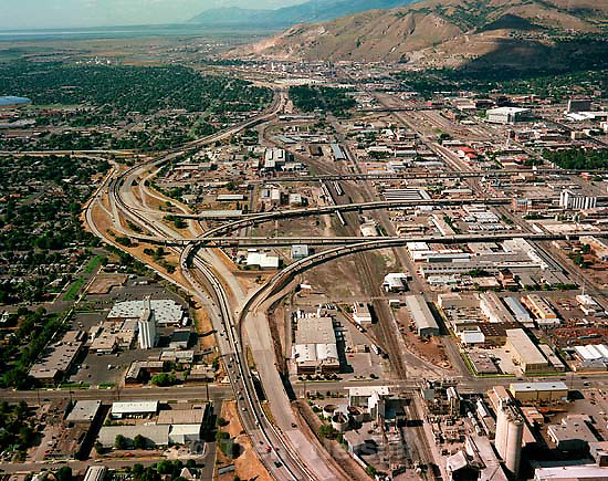 I-15 interchanges leading into downtown Salt Lake City shot from the air.<br />
