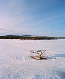 FINLAND, Inari, sea plane parked on a frozen lake in Inari.